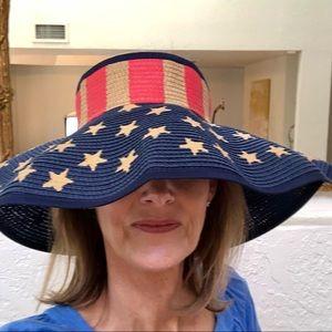 American Flag Rollup Straw Visor
